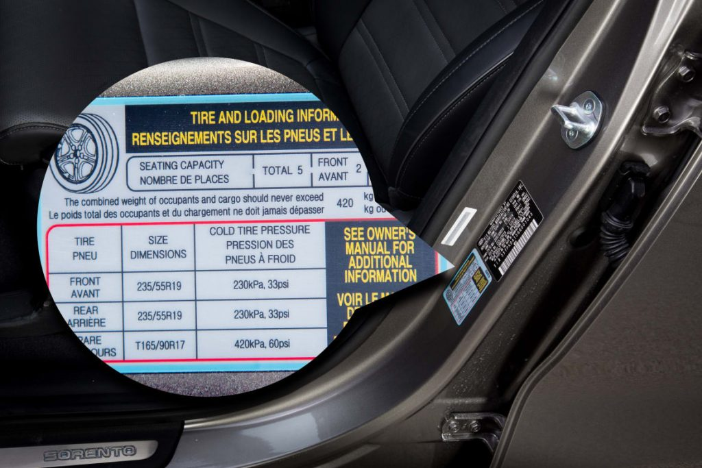 Stick designating PSI needed for tires on door jamb of vehicle