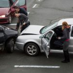 Damaged vehicles that got into an accident and will will need to replace parts