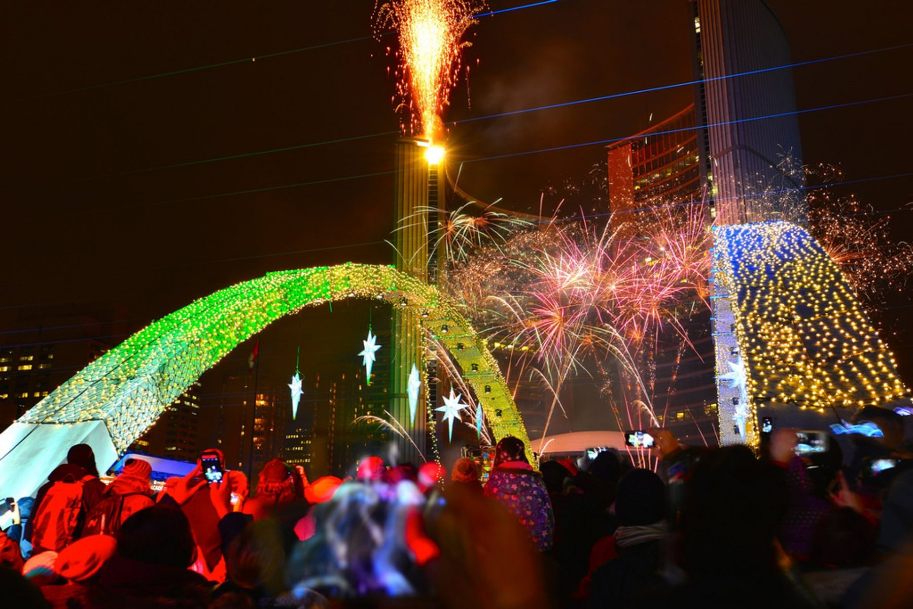Fireworks at Nathan Phillips Square during the Cavalcade of Lights