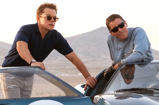 Matt Damon and Christian Bale in a scene from Ford vs Ferrari